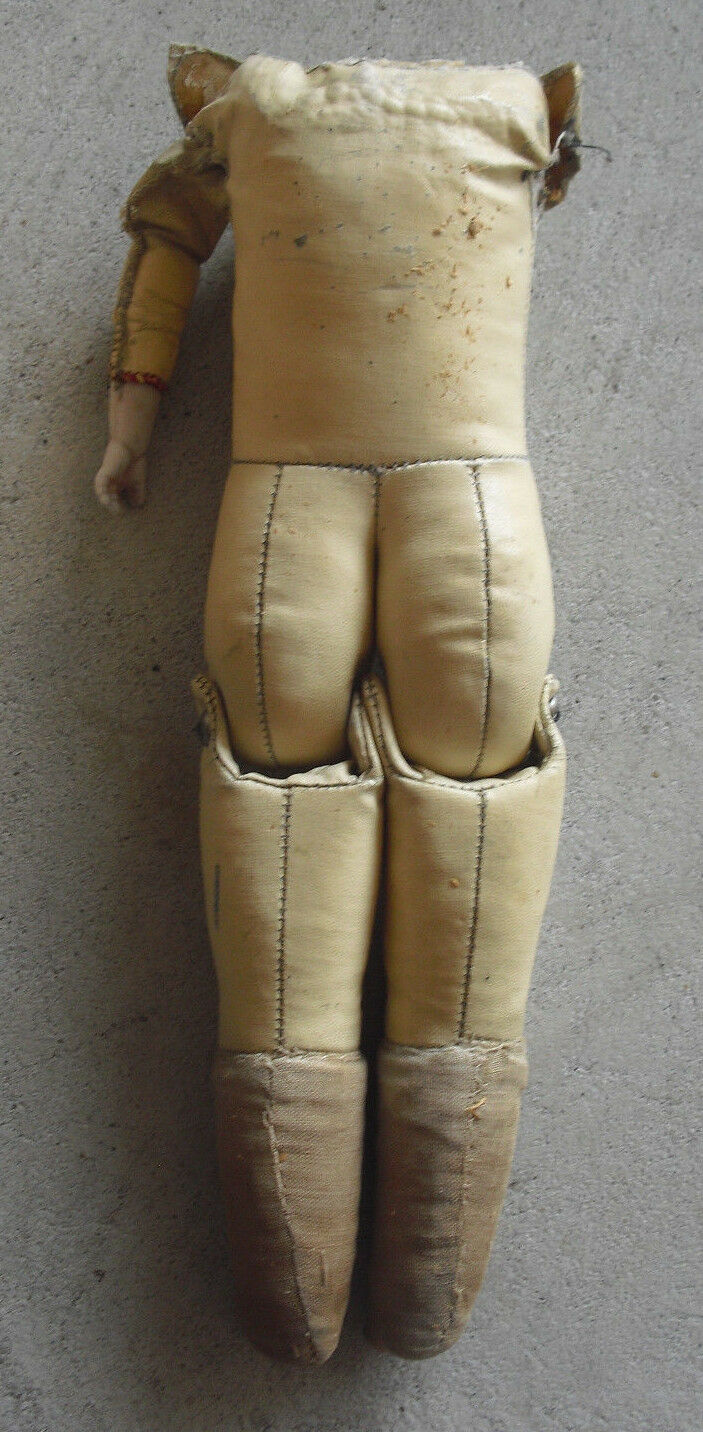 Vintage 1920s Jointed Leder Kid Doll Body Arm Legs and Bisque Arm 12
