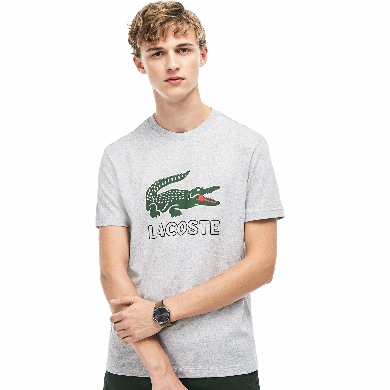 LACOSTE Da Uomo Grande Stampa Coccodrillo T-shirt (Grigio)