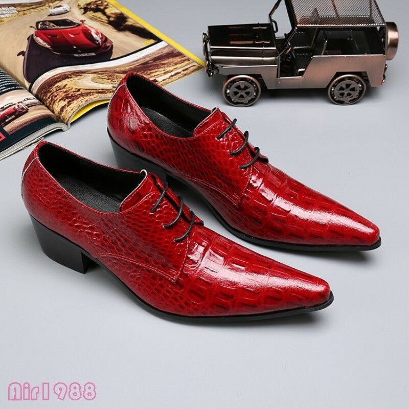 US6-12 Red Fashion Mens Fomal Dress shoes Pointy Toe Lace Up Wedding shoes New