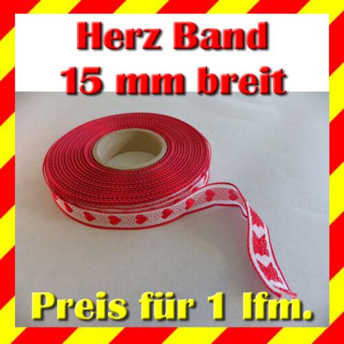 Zierband Besatzband Borte Band rot mit Herz 15 mm breit Preis gilt für 1 lfm.