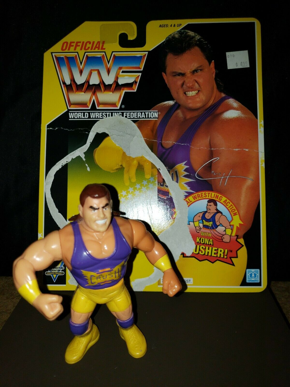 WWF Hasbro Crush 1993 Yellow Card Series 7 Vintage WWE Figure with backer