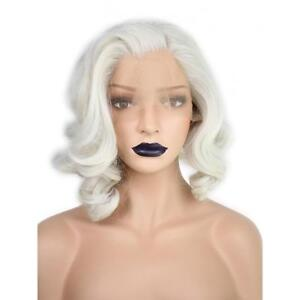 White Short Bob Synthetic Lace Front Wig Wavy Natural Wave Women s ... 7f96adda07