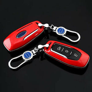 Carbon-Fiber-Red-Car-Key-Cover-for-ford-Escape-Focus-fusion-EXPLORER-Mustang