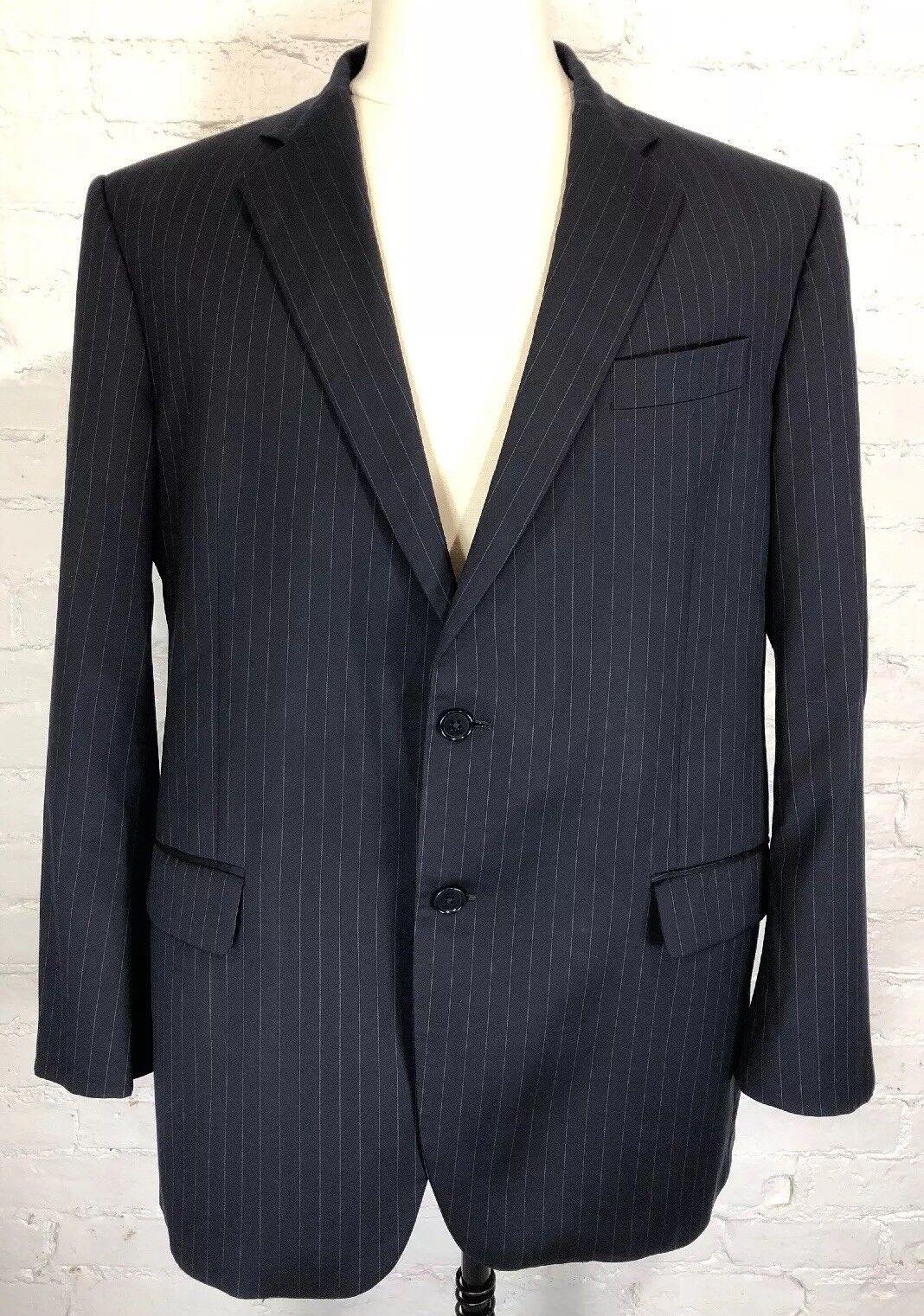 BROOKS BredHERS Suit 45R 40W Navy Madison 1818 Estrato 100% Wool Pinstripe