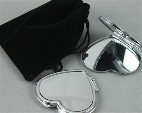 Ordentlich Silberfarbener Herzspiegel Taschenspiegel, Kosmetikspiegel