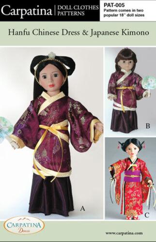 Chinese Dress /& Japanese Kimono American Girl /& Carpatina 18 Dolls Pattern