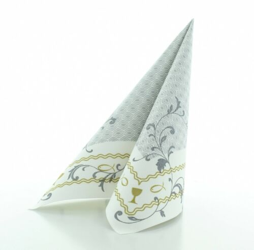 Napkin Christening In Silver-Gold from Linclass Airlaid ® 40 x 40 cm 50 Piece