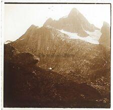 Scandinavie Norvège Norway Montagne Neige Plaque de verre stereo Vintage ca 1910