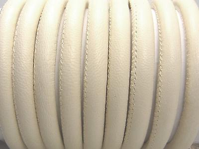Weiches Nappaleder, rund gesäumt, 6 mm, elfenbein, 20 cm (10,00€/m); *2772