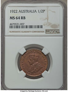 Australia 1922 Half Penny NGC MS64RB high grade
