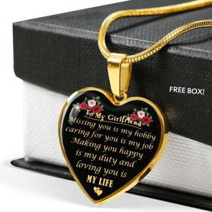 Image Is Loading To My Girlfriend Heart Necklace Gift For
