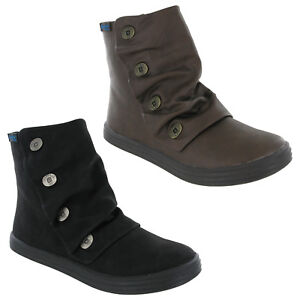 cc9c42afb1d Image is loading Blowfish-Malibu-Rabbit-Boots-Womens-Ankle-Button-Detail-