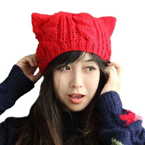 Damen Herbst Strick Mütze Beanie Mütze Baskenmütze Katze Ohren Lieb M8067 PD