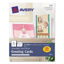Avery Textured Half-Fold Greeting Cards Inkjet 5 1/2 x 8 1/2 Wht 30/Bx w
