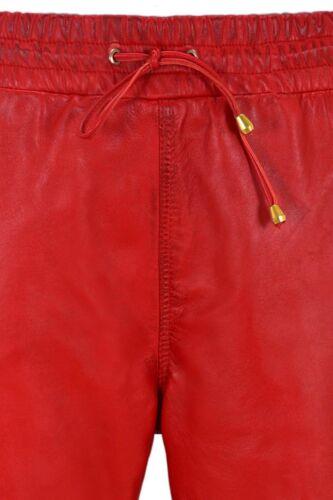 Ladies Leather Trouser Red Napa Sweat Track Pant Zip Jogging Bottom 3040
