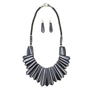 Vintage-Tribal-Necklace-Runway-Black-Color-Buffalo-Bone-Fashion-Boho-Jewelry-Set