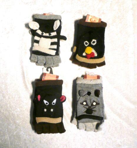 Cute Ladies Children Animal Head Mittens Gloves Winter Warm Boy//Girls Unisex