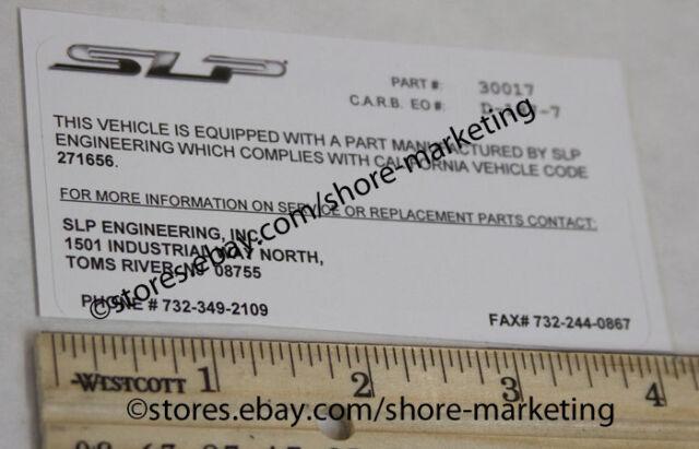 SLP CARB California EO Decal for SLP 1995-1997 SLP Camaro LT1 Headers
