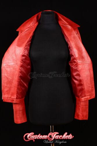 Ladies SIREN Red Washed Biker Girl Motorcycle Studded Designer Leather Jacket