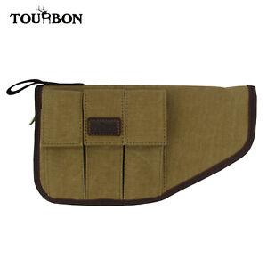 Tourbon-Canvas-Leather-Pistol-Case-Soft-Padded-w-Handgun-Magazine-Pouch-Holder