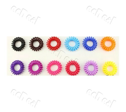 10 pc Phone Wire Cord Style Invisible Bobble Traceless Colour Hair Band scrunchy
