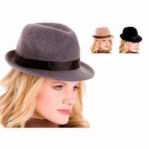 83e205adc4c1f Image is loading Ladies-100-Wool-Winter-Trilby-Hat-With-Contrast-