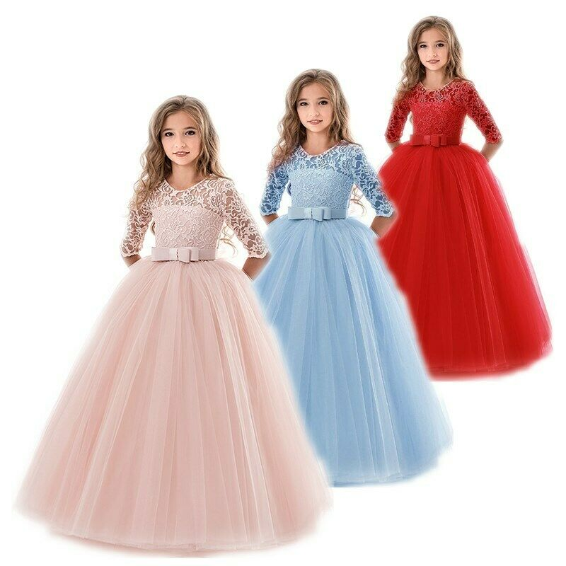 Weixinbuy Toddler Baby Girls Embroidered Flower Cotton Party Wedding Princess Dresses 1-4 Years