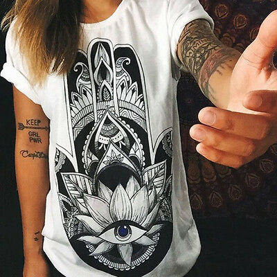 Womens Summer T-shirt Letter Printed Short Sleeve Casual Tee Shirts Tops Blouse