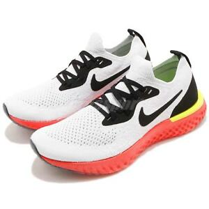 39f681b345f0 Nike Epic React Flyknit GS White Black Red Yellow Kid Youth Shoes ...