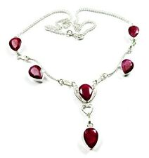 Precious Natural AAA Rich Red Ruby Pear Cut Gemstone 925 Silver Plated Necklace
