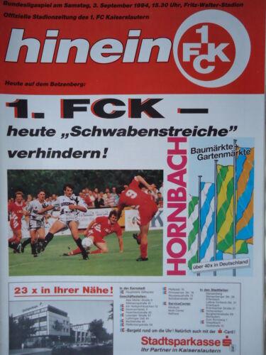 Programm 1994//95 1 FC Kaiserslautern VfB Stuttgart
