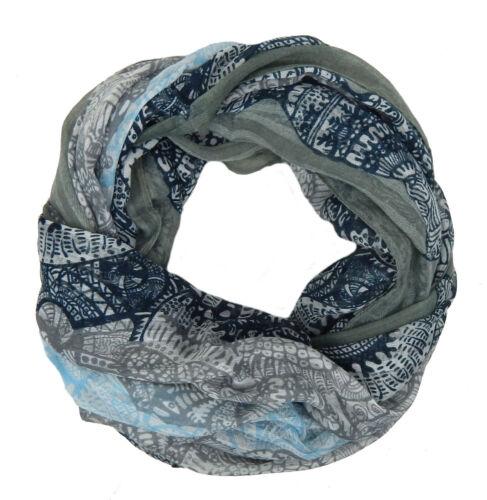 Ella Jonte breiter Loop grau blau weiß Schal Damenschal Baumwollmischung maritim