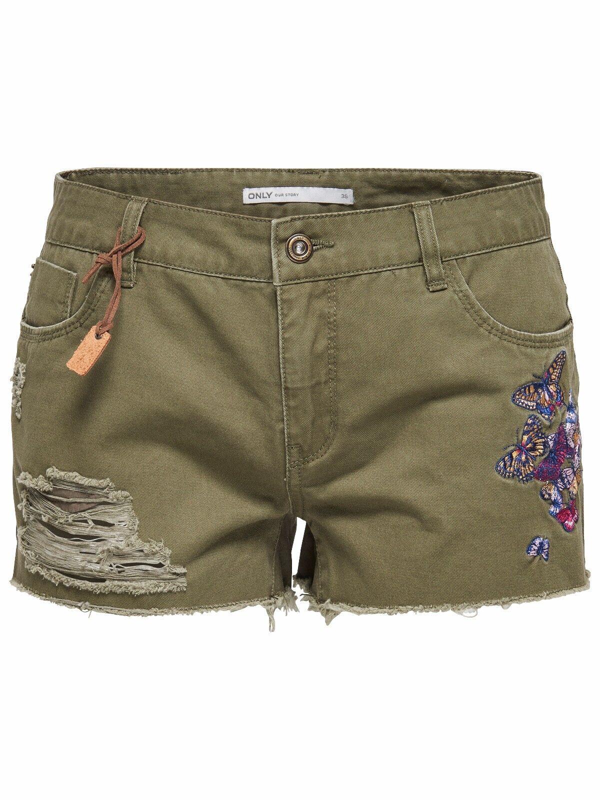 88/7 NEU ONLY Damen Jeans Hose kurz onlLA BREA REG BUTTERFLY SHORTS Gr. 38 / M