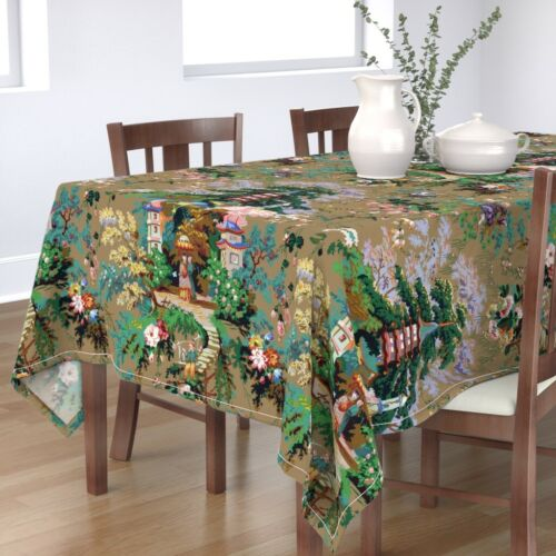Tablecloth Asian Toile Chinoiserie Antique Spring Cotton Sateen