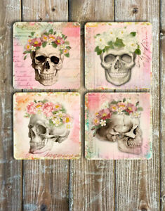 Drink-Coasters-Pretty-Skulls-Set-of-4-Non-Slip-Neoprene