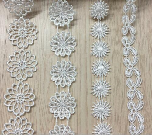 4 Yards(4pcs)White Flowers Embroidered lace Wedding dress clothing Sewing