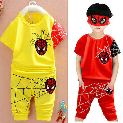 Cool Baby Kids Boy Toddlers Outfit T-Shirt Spiderman Clothing Set+ Pants Suits