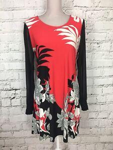 Julien-Macdonald-Women-039-s-Dress-Patterned-Long-Sleeve-Mini-Red-Black-UK-14-US-10