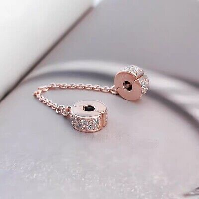 Rose Gold Shining Elegance Insignia Safety Chain Arcs Of Love Charm Clips S925