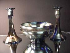 Rare 3 pc Dugan Diamond Glass Cobalt Royal Luster Carnival Glass Console Set