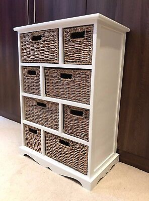 Brown Wicker Rattan Chest Of Drawers