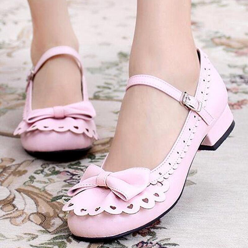 Lolita Girls Japanese Mary Jane Strap bownot mid heel Block court princess shoes