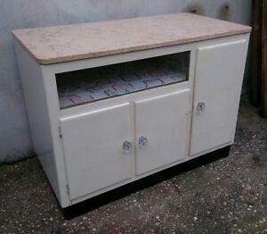Dettagli su Eccezionale mobile credenza da cucina anni 50 con piano in  marmo già restaurato