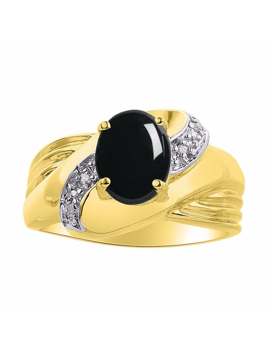 Diamond & Onyx Ring Set In 14K Yellow gold - color Stone Birthstone Ring LR6647O