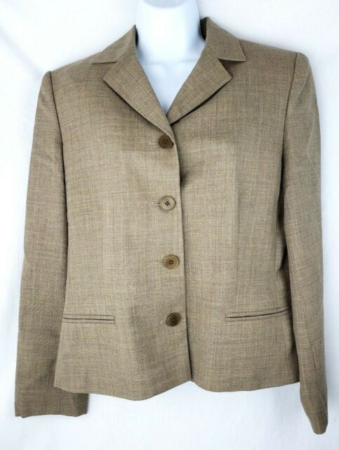 Lauren Ralph Lauren LRL Womens Size 10 Blazer Suit Jacket Tan Brown Button Down