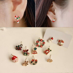 Enamel-Set-Christmas-Santa-Bell-Ear-Clip-Earrings-No-Piercing-Clip-On-Jewellry