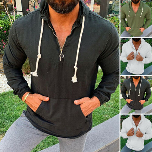 Mens Retro Linen Shirt Hoodies Long Sleeve Holiday Chinese Yoga Half Zip Top Tee