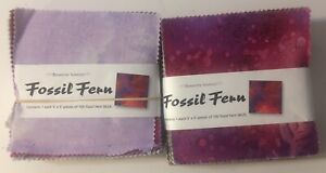 Benartex-Fossil-Fern-5-034-Charm-Squares-Set-of-2-Package-of-100-Multi-Color-528