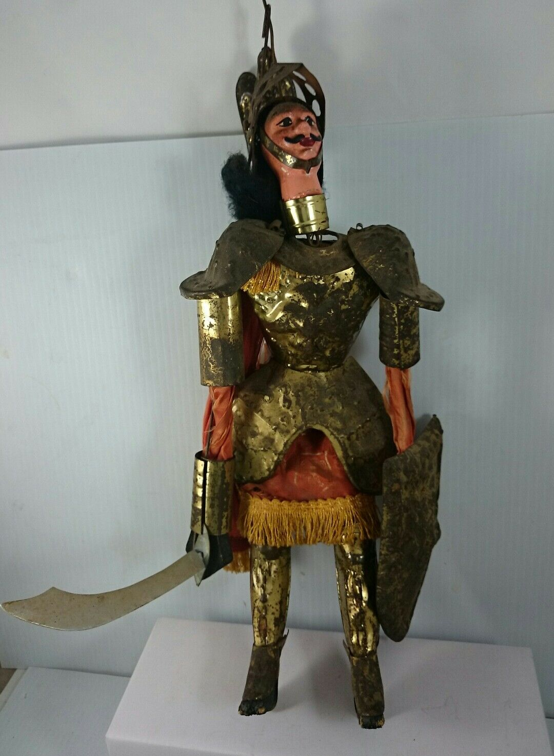 SPANISH TIN PUPPET Ceremonial Knight Caped Figure Vintage Toy Collectible Art