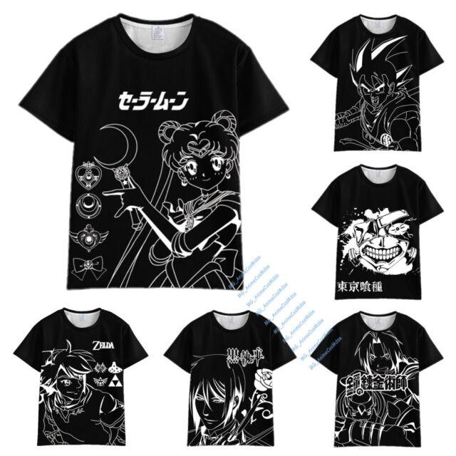 Anime T-Shirt Black Butler Tokyo Ghoul Sailor Moon Dragonball Fairy Tail Zelda